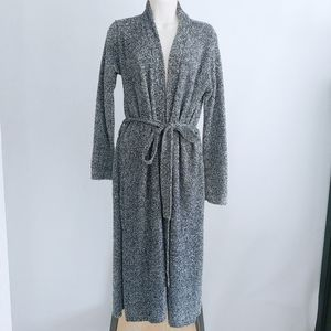 Josie Natori Soft Plush Long Heather Gray Robe S